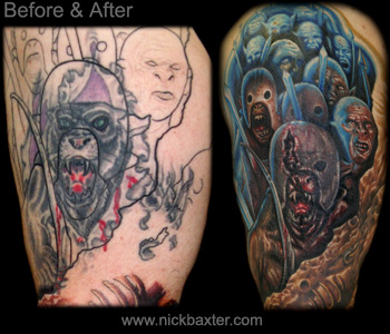 Cover Tatto on Tattoo   Tattoos   Nick Baxter   Orc Battle Sleeve  Cover Up Detail
