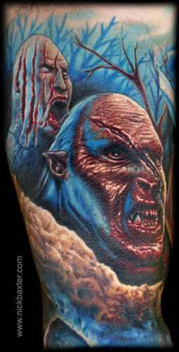 Looking for unique Horror tattoos Tattoos? Orc Battle Sleeve (Detail 1)