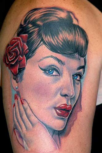 pin up tattoos. Nikko - Pin up portrait tattoo
