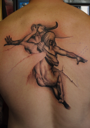 Size:520x695 - 58k: Angel Vs Devil Tattoo