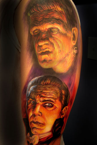 Looking for unique Tattoos? Classic Horror Half Sleeve