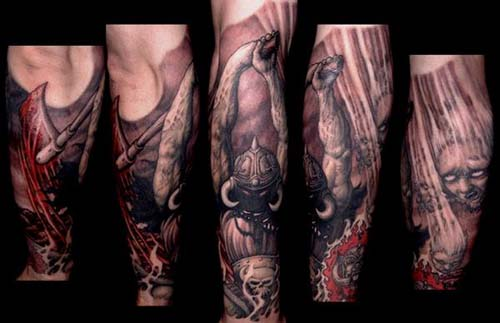 Paul Booth - Horned demon with battle axe tattoo