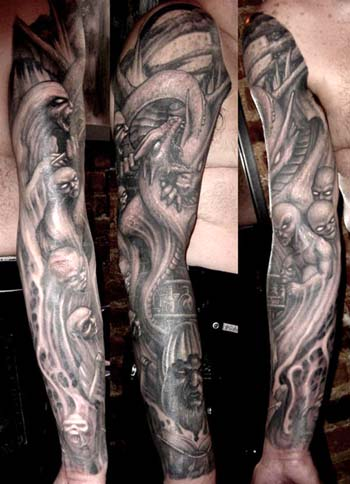 Dragon and demons sleeve tattoo. Placement: Arm