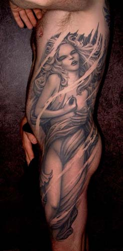woman full side tattoo