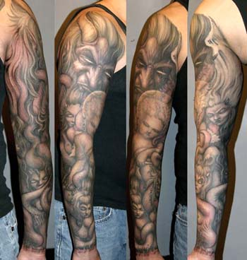 Demon with angels and succubi sleeve tattoo