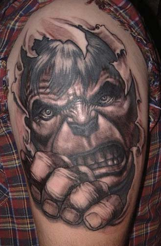 Comments: custom black and gray skin rip incredible hulk tattoo