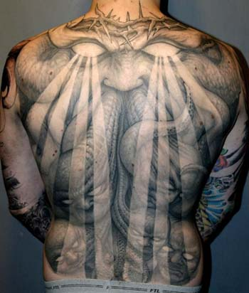 Crown of thorns demon back piece tattoo