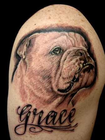 Comments: memorial tattoo for his puppy. Randy Prause - grace