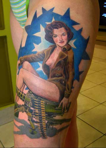 Hope Gallery Tattoo : Tattoos : Phil Young : Military Pin Up Girl