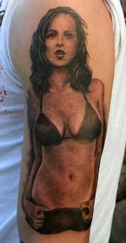 Phil Young - Realistic Girl in a Bikini Tattoo Large Image Leave Comment
