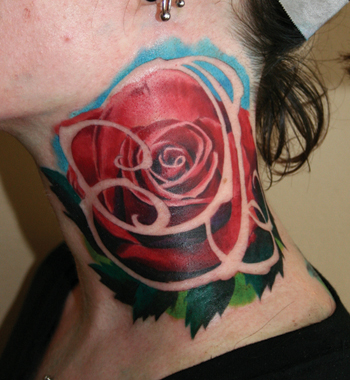 Tattoos. Tattoos Art Nouveau. Neck Rose. Now viewing image 4 of 21 previous