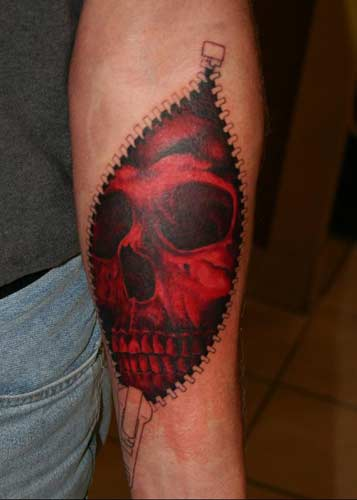 Scary, Cheerful Skull Tattoo Designs Phil Young - Zipper Skin Rip Skull