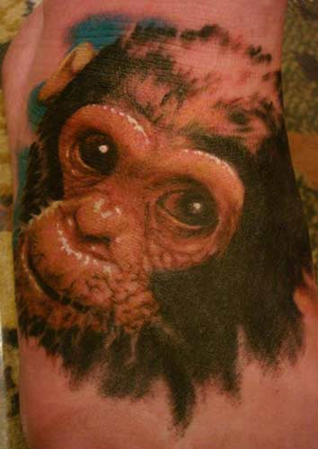 Realistic Monkey Tattoo. Placement: Foot Comments: No Comment Provided.