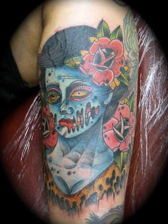 Neo Traditional Tattoo Art Kike Castillo - zombie pin up traditional tattoo