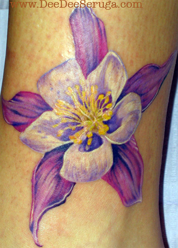 Color Tattoos. Purple Flower