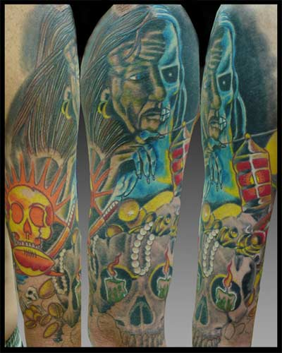 Jason A Leigh - Full Sleeve Large Image. Keyword Galleries: Skull Tattoos