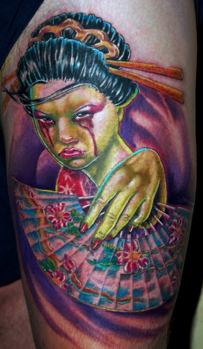 Tattoos Vinny Burkhart Zombie Geisha click to view large image