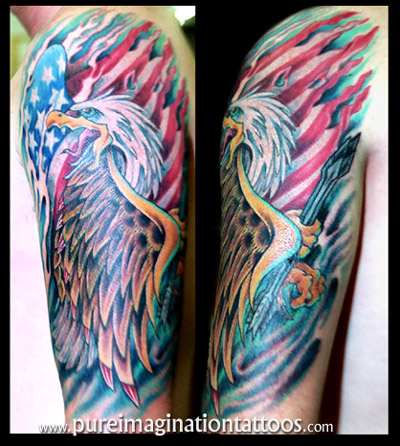 This american flag and eagle tattoo may be just the style you are looking