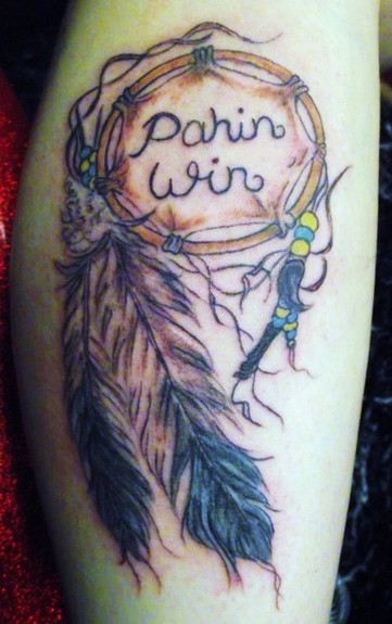 Dream Catcher with Indian name and feathers Customer wanted tattoo to be