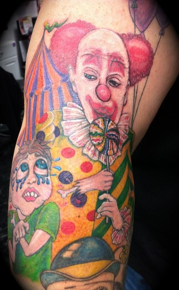 Comments: evil clown, severed arm,. Keyword Galleries: Color Tattoos,
