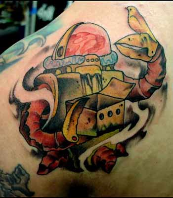 Tattoos. Tattoos Cartoon. Coal mining Robot