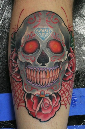 Spiderweb Tatto on Chest Tattoo Transformed In Blue Skull Colrful Design   Tattoos