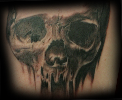 Comments: 1st session of a Skull tattoo. 2 hrs. Tattoos. Realistic Tattoos