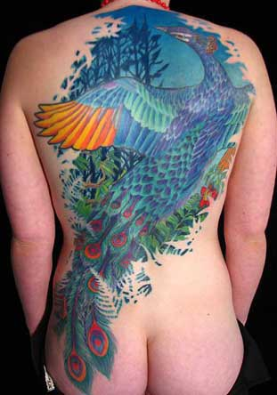 Off the Map Tattoo : Tattoos : Jeff Croci : Blue Peacock