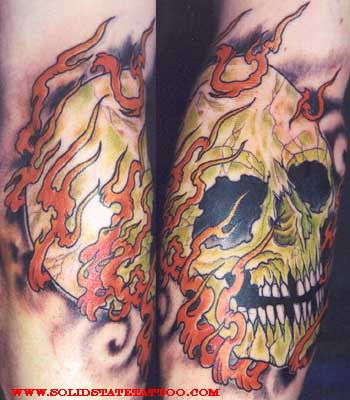 Looking for unique Dana Helmuth Tattoos? flaming skull