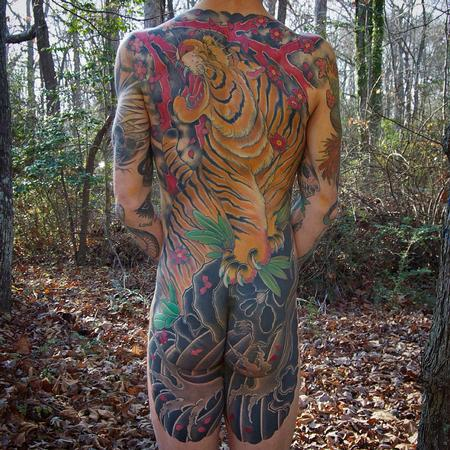 Animal tiger backpiece for Solid state tattoo