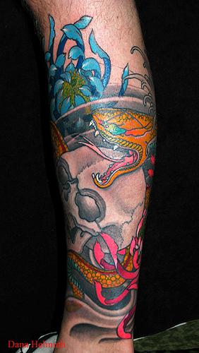Nature Animal Snake Tattoos Flower Chrysanthemum Tattoos