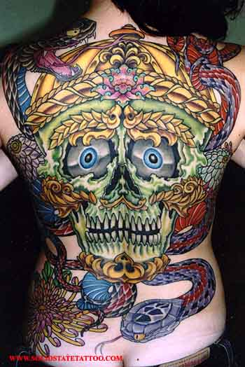 Looking for unique Tibetan tattoos Tattoos skull with snakes and