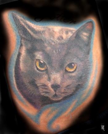 cat tattoo on belly. cat tattoo on elly