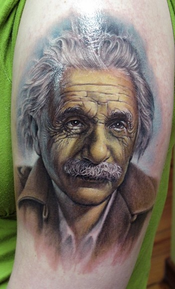 Comments: Albert Einstein tattoo done in Off the Map tattoo 2010 done by