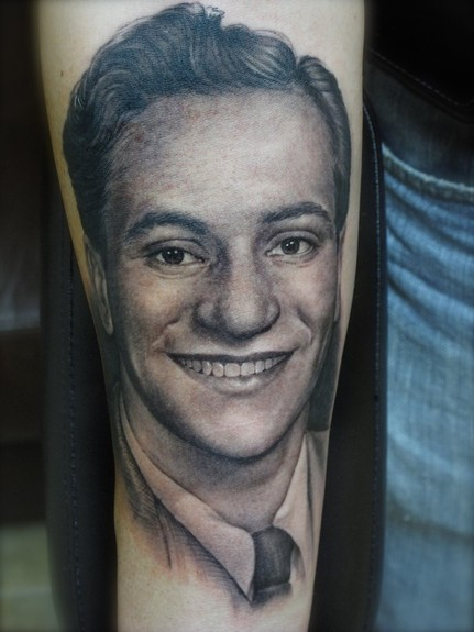 portrait tattoos by kat von d. portrait tattoos on arm. and