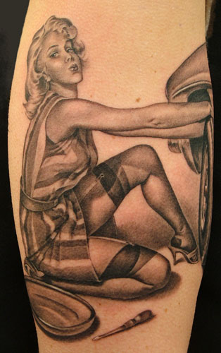 Mechanic Pinup Tattoo