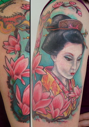 colorful geisha tattoo.