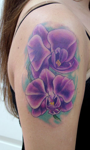 purple flower tattoos are sexy and beautiful