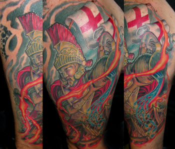 Off the Map Tattoo : Tattoos : Fire-fighters : St Florian against the