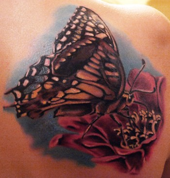 Flower Picture on Worlds Best Tattoos   Tattoos   Realistic   Butterfly On Flower