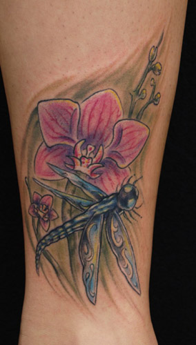 Tattoos. Tattoos Flower. dragonfly and orchid