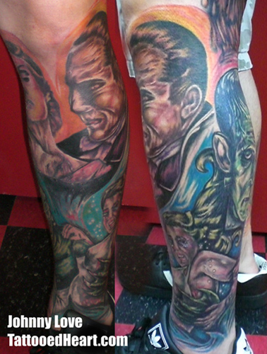 leg sleeve tattoos. universal monsters leg sleeve