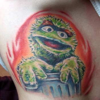 Evan Olin - Oscar the Grouch Tattoo Large Image