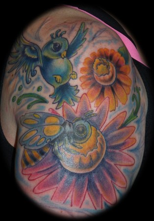 Johnny Love - Bird landing on flower with cute bee tattoo