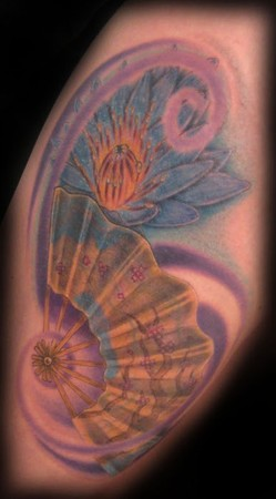 Lotus Flower Picture on Tattoos   Markuss   Geisha Fan With Lotus Flower Swirly Tattoo