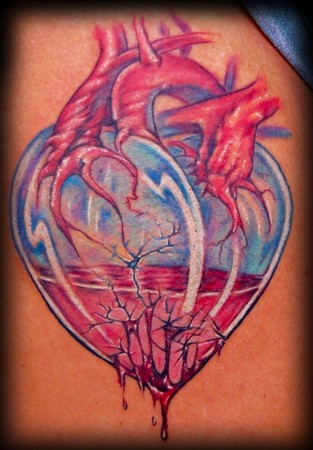 Looking for unique evan olin tattoos glass heart for Looking glass tattoos