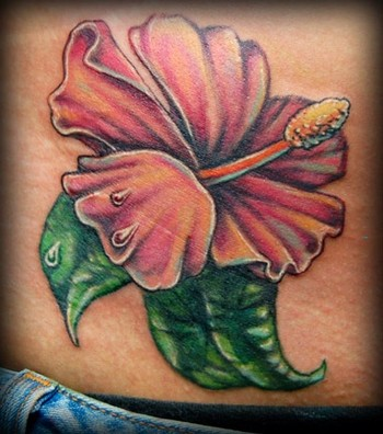 The hibiscus hawaiian flower tattoo designs are native to islands in the