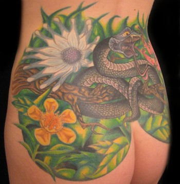 Comments: Snake Ass with Tropical Flowers CoverUp Tattoo
