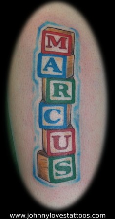 Tattoos > Virginia > Page 39 > Alphabet Blocks Name Tattoo