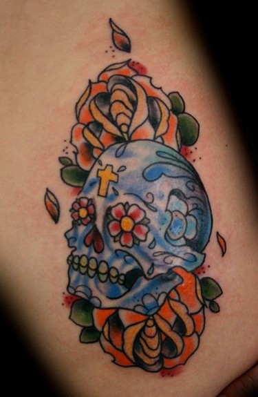 Rob Scheyder - Sugar Skull. Large Image. Keyword Galleries: Color Tattoos,